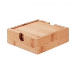 MENDI - 4 pad-uri de pahare din bambus MO9683-40, Wood