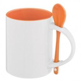 Cană ceramică cu linguriţă 300 ml - 8345410, Orange