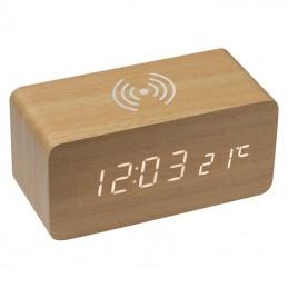Ceas din lemn, cu încărcător wireless - 3151513, Beige