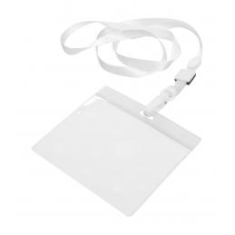 Maes - suport ecuson cu lanyard AP791539-01, alb
