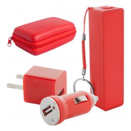 Rebex - set baterie externă și încărcător USB AP741904-05, roșu