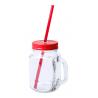 Heisond -Borcan sticla cu capac si pai 500 ml AP781622-05, roșu