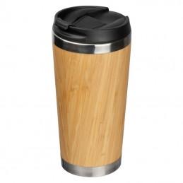Cana termica bambus cu capac 400 ml  - 156413, BEIGE