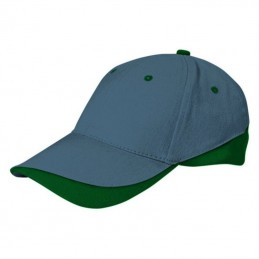 Tuxton Cap / Sapca 6 panele bicolora velcro scai - GOVATUXGB01, Cement Grey-Bottle Green