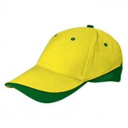 Tuxton Cap / Sapca 6 panele bicolora velcro scai - GOVATUXAB01, Lemon Yellow-Bottle Green