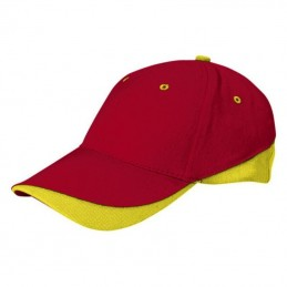 Tuxton Cap / Sapca 6 panele bicolora velcro scai - GOVATUXRA01, Lotto Red-Lemon Yellow