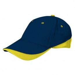 Tuxton Cap / Sapca 6 panele bicolora velcro scai - GOVATUXMA01, Orion Navy Blue-Lemon Yellow