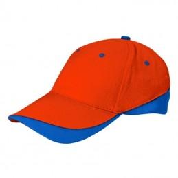 Tuxton Cap / Sapca 6 panele bicolora velcro scai - GOVATUXNR01, Party Orange-Royal Blue