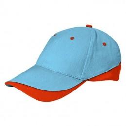 Tuxton Cap / Sapca 6 panele bicolora velcro scai - GOVATUXCN01, Sky Blue-Party Orange