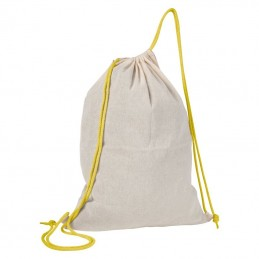 Rucsac bumbac cu siret colorat 140 gmp - 092008, Yellow
