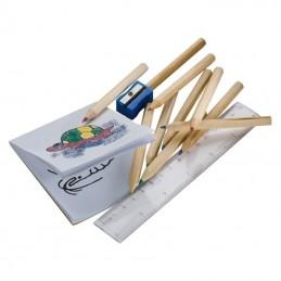 Set creioane colorate cu rigla si carton desen - 112501, Brown
