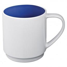 Cana ceramica 300 ml alba cu interior colorat - 870504, Blue