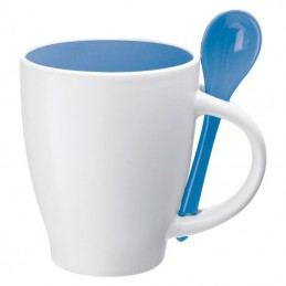 Cana ceramica 250 ml cu lingurita inclusa - 509504, Blue
