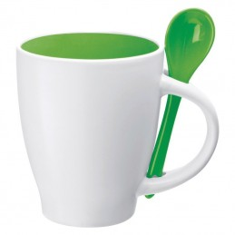 Cana ceramica 250 ml cu lingurita inclusa - 509509, Green