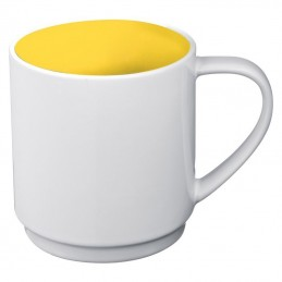 Cana ceramica 300 ml alba cu interior colorat - 870508, Yellow