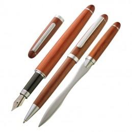 Set 3 piese pix stilou si deschizator plic lemn trandafir - 844101, Brown