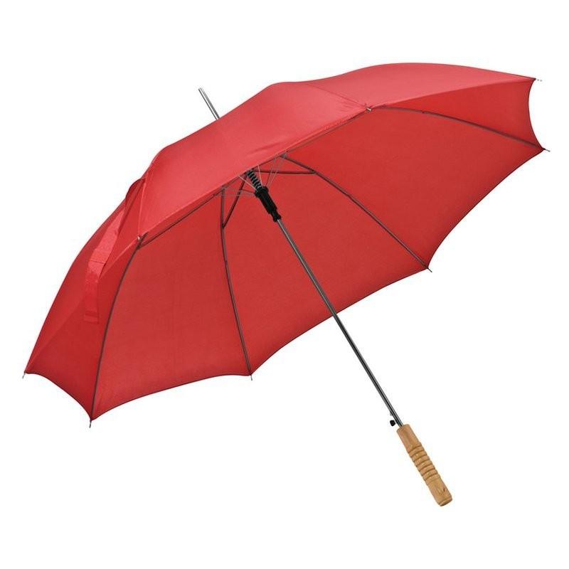 Umbrela cu maner lemn drept - 508605, Red