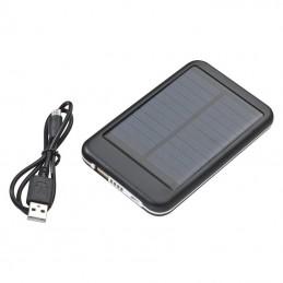 Powerbank 4000 mAh carcasa metal si panou solar - 355903, Black