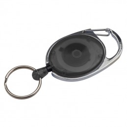 Pass holder extensibil cu carabina  - 117103, BLACK