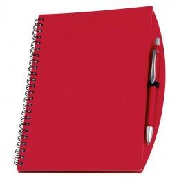 Carnetel A5 cu spira si pix liniat coperti plastic - 092205, Red