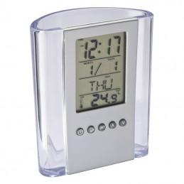 Suport birou pixuri cu ceas si termometru - 103066, Silver