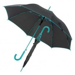 Umbrela cu maner plastic curbat cu dunga colorata - 347214, Turquoise