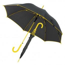 Umbrela cu maner plastic curbat cu dunga colorata - 347208, Yellow