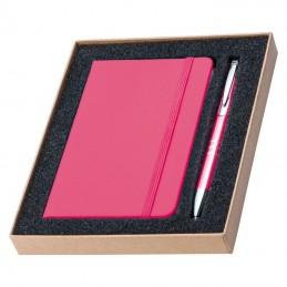 Carnetel A6 cu 190 pagini veline  PU in set cu pix - 287511, Pink