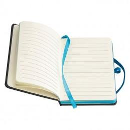 Carnetele A6 160 pagini liniate PU negru si banda olorata - 341114, Turquoise