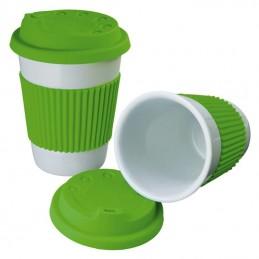 Cana ceramica 200 ML cu capac si silicon - 278929, Light green