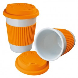 Cana ceramica 200 ML cu capac si silicon - 278910, Orange