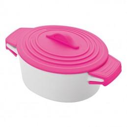 Castron ceramic cu capac silicon colorat - 889411, Pink