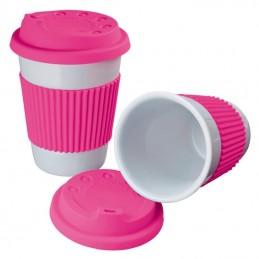 Cana ceramica 200 ML cu capac si silicon - 278911, Pink