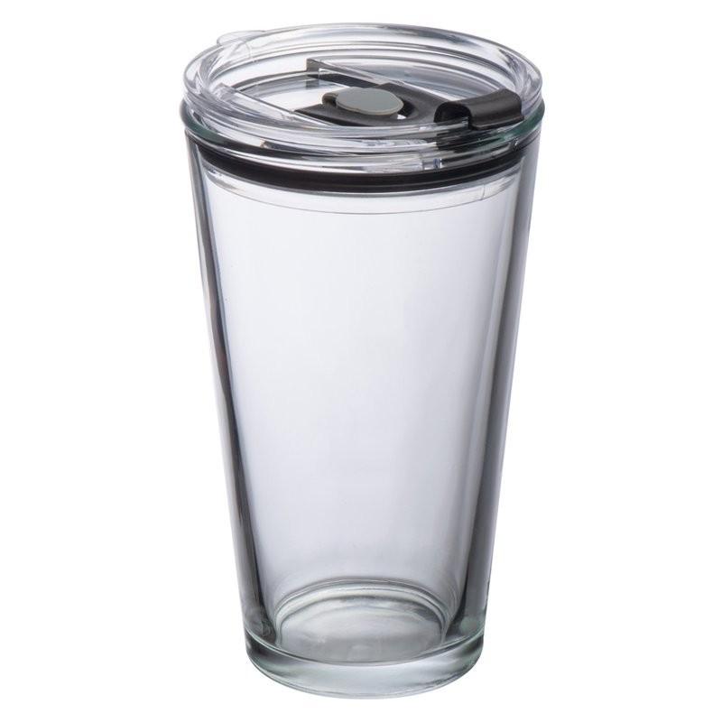 Pahar cu capac 400 ml din sticla - 153566, TRANSPARENT