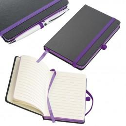 Carnetele A6 160 pagini liniate PU negru si banda olorata - 341112, Violet