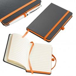 Carnetele A6 160 pagini liniate PU negru si banda olorata - 341110, Orange