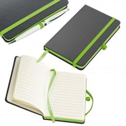 Carnetele A6 160 pagini liniate PU negru si banda olorata - 341129, Light green
