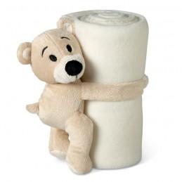MANTA - Pătură polar cu ursuleț        MO8252-06, White