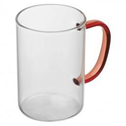 Cană din sticlă cu toartă colorată, 250 ml - 8234005, Red