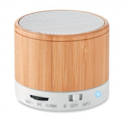 ROUND BAMBOO - Boxă rotundă Bluetooth bambus  MO9608-06, White