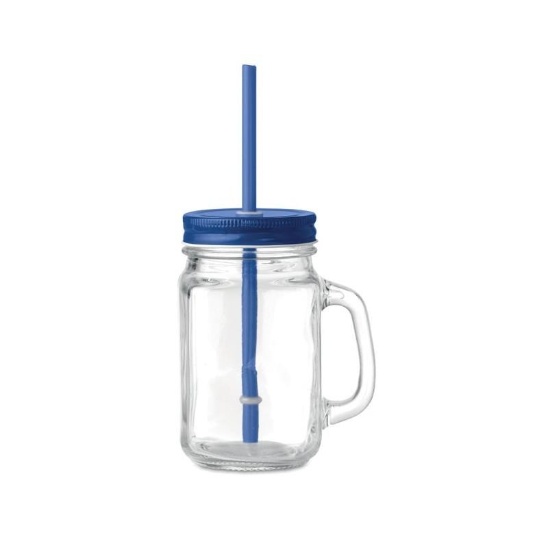 TROPICAL TWIST - Sticlă Mason borcan cu pai     MO9565-04, Blue