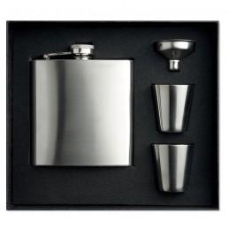 SLIMMY FLASK SET - Sticlă de buzunar cu paharele  MO8321-16, Dull silver