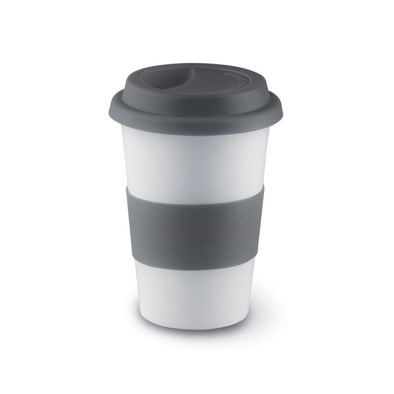 TRIBECA - Cană ceramică cu capac, manșon MO7683-07, Grey