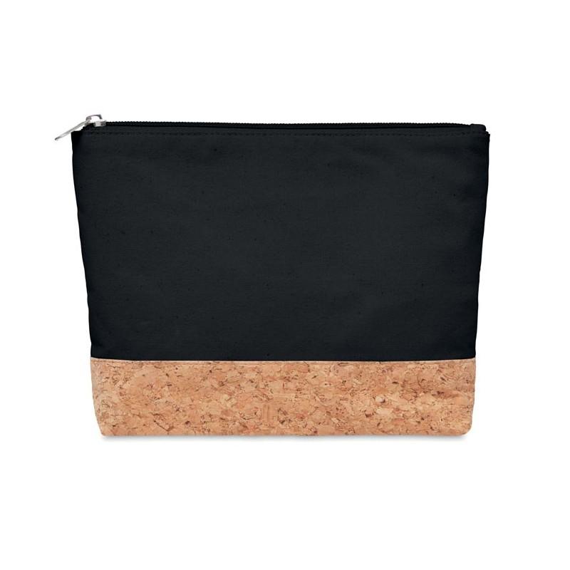 PORTO BAG - Geantă cosmetice, plută&bumbac MO9817-03, Negru