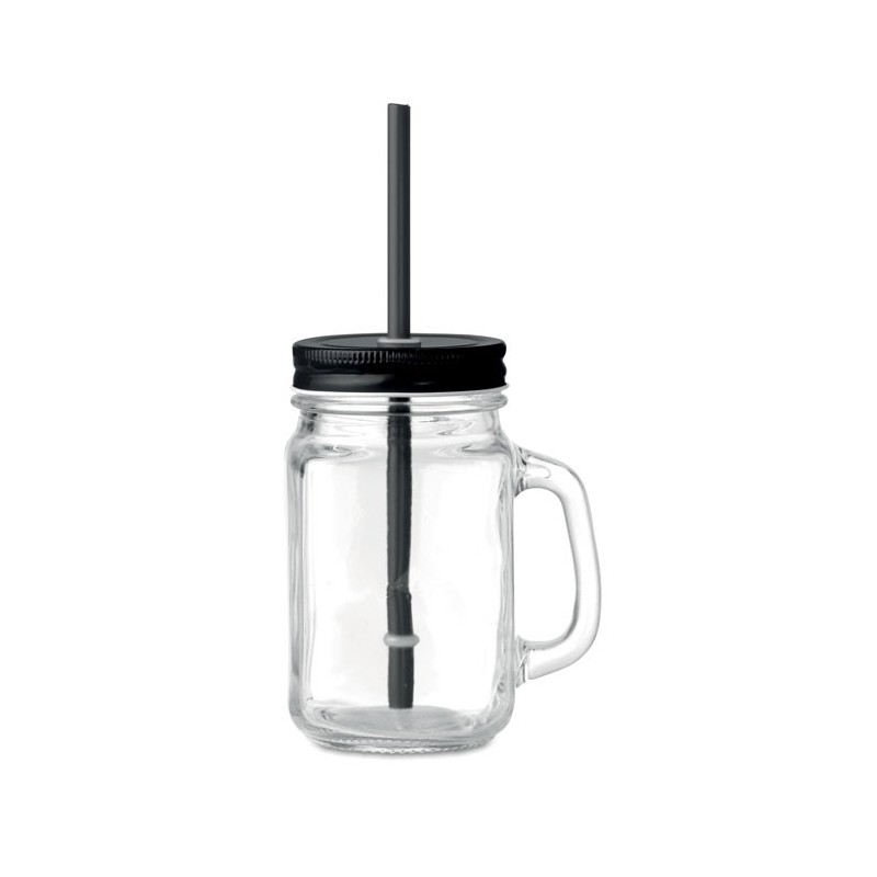 TROPICAL TWIST - Sticlă Mason borcan cu pai     MO9565-03, Negru