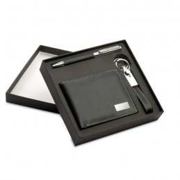 ELEGANCI - Set cadou:pix+breloc+portmoneu KC7109-03, Negru