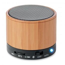 ROUND BAMBOO - Boxă rotundă Bluetooth bambus  MO9608-03, Negru