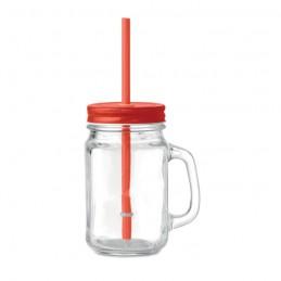 TROPICAL TWIST - Sticlă Mason borcan cu pai     MO9565-05, Rosu
