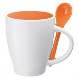 Cană ceramică cu lingurita de 250 ml - 8509510, Orange