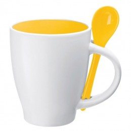 Cană ceramică cu lingurita de 250 ml - 8509508, Yellow